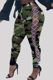 Green Fashion Casual Camouflage Print Bandage Hollowed Out Regular High Waist Trousers