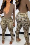 Brown Fashion Casual Plaid Print Basic Regular High Waist Pencil Trousers