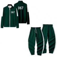 Dark Green Squid Game Fashion Casual Print Split Joint Zipper Collar Long Sleeve Two Pieces