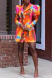 Multicolor Fashion Casual Print Cardigan Turndown Collar Outerwear