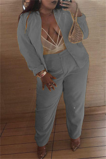 Grey Fashion Casual Solid Cardigan Pants Plus Size Two Pieces
