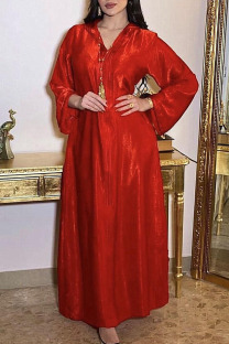 Red Casual Solid Split Joint Hooded Collar Straight Dresses