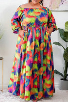 Colour Fashion Casual Print Backless Off the Shoulder Long Sleeve Plus Size Dresses
