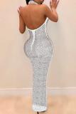 Black Fashion Sexy Patchwork Hot Drilling See-through Halter Sleeveless Dress