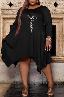Black Casual Print Split Joint Asymmetrical O Neck A Line Plus Size Dresses