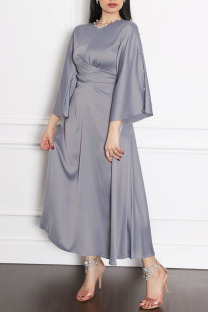 Grey Casual Elegant Solid Split Joint Hot Drill O Neck A Line Dresses