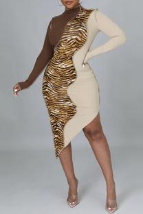 Multicolor Fashion Casual Patchwork Print Leopard Asymmetrical Turtleneck Long Sleeve Dresses
