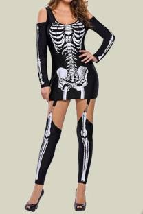 Black Halloween Sexy Party Split Joint Print Costumes
