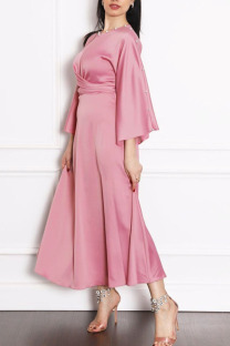 Pink Casual Elegant Solid Split Joint Hot Drill O Neck A Line Dresses