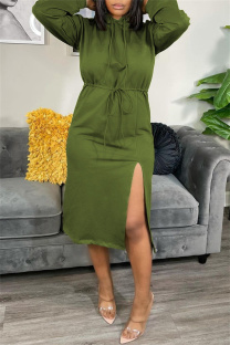 Green Fashion Casual Solid Slit Hooded Collar Long Sleeve Dresses