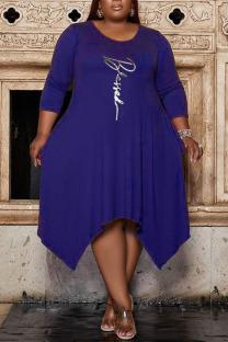 Blue Casual Print Split Joint Asymmetrical O Neck A Line Plus Size Dresses