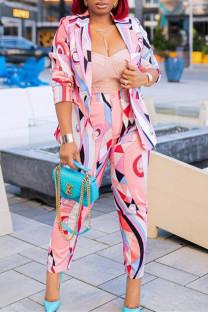 Pink Fashion Casual Print Cardigan Pants Turndown Collar Long Sleeve Two Pieces