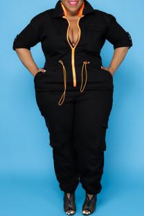 Black Fashion Casual Solid Split Joint Zipper Collar Plus Size Jumpsuits