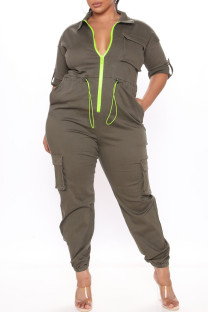 Army Green Fashion Casual Solid Split Joint Zipper Collar Plus Size Jumpsuits