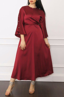 Purplish Red Casual Elegant Solid Split Joint Hot Drill O Neck A Line Dresses