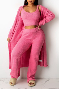 Pink Casual Solid Split Joint U Neck Long Sleeve Three Pieces