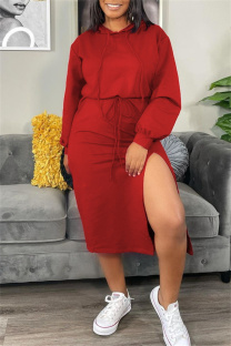 Red Fashion Casual Solid Slit Hooded Collar Long Sleeve Dresses