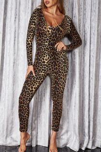 Leopard Print Fashion Casual Leopard Printing V Neck Skinny Jumpsuits (Without Belt)