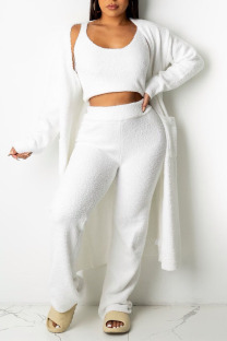 White Casual Solid Split Joint U Neck Long Sleeve Three Pieces