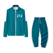 Blue-212 Squid Game Casual Print Split Joint Turndown Collar Long Sleeve Two Pieces