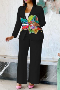Black Fashion Casual Print Cardigan Pants Turndown Collar Long Sleeve Two Pieces (Without Belt)