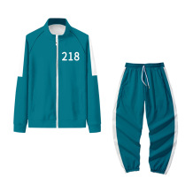 Blue-218 Squid Game Casual Print Split Joint Turndown Collar Long Sleeve Two Pieces
