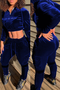 Blue Fashion Casual Letter Embroidery Solid Color Zipper Collar Long Sleeve Two Pieces