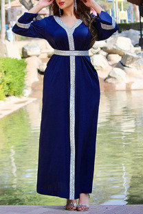 Royal Blue Casual Solid Split Joint Hot Drill V Neck Straight Dresses
