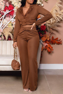 Coffee Casual Solid Split Joint Turndown Collar Long Sleeve Two Pieces