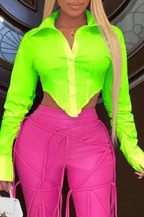 Fluorescent Green Fashion Casual Solid Asymmetrical Turndown Collar Tops