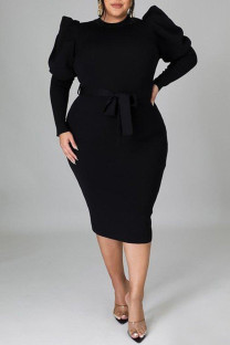Black Fashion Casual Solid With Belt O Neck Long Sleeve Plus Size Dresses