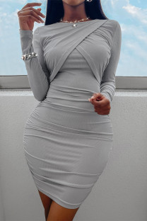 Grey Fashion Casual Solid Split Joint O Neck Long Sleeve Dresses