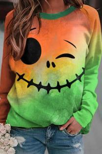 Orange Green Fashion Casual Print Basic O Neck Tops