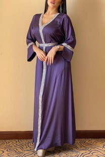 Purple Casual Solid Split Joint Hot Drill V Neck Straight Dresses