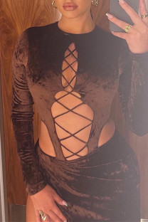 Brown Fashion Sexy Solid Hollowed Out O Neck Long Sleeve Two Pieces
