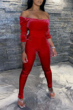 Red Sexy Casual Solid Split Joint Off the Shoulder Regular Jumpsuits