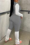 Grey Fashion Casual Patchwork Cardigan Pants Zipper Collar Long Sleeve Two Pieces