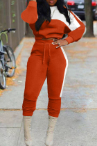 Orange Fashion Casual Patchwork Basic O Neck Long Sleeve Two Pieces