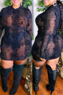 Black Fashion Sexy See-through O Neck Long Sleeve Plus Size Dresses