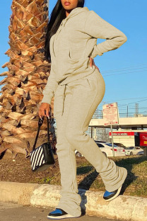 Khaki Casual Solid Split Joint Fold Hooded Collar Long Sleeve Two Pieces