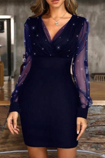 Blue Fashion Sexy Patchwork Basic V Neck Long Sleeve Dresses