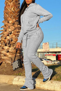 Light Gray Casual Solid Split Joint Fold Hooded Collar Long Sleeve Two Pieces