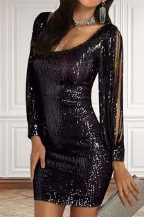 Black Sexy Solid Split Joint  Sequins U Neck One Step Skirt Dresses