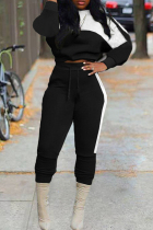Black Fashion Casual Patchwork Basic O Neck Long Sleeve Two Pieces