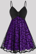 Purple Fashion Casual Patchwork Backless V Neck Sling Dress Plus Size Dresses