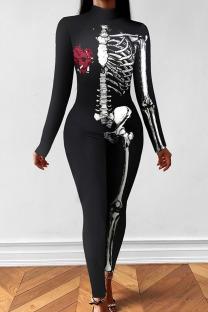 Black Punk Print Split Joint Half A Turtleneck Skinny Jumpsuits