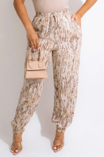 Apricot Casual Print Split Joint Loose High Waist Straight Full Print Bottoms