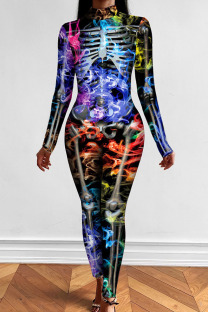 Multi-color Punk Print Split Joint Half A Turtleneck Skinny Jumpsuits