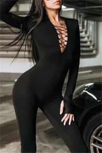 Black Fashion Casual Solid Hollowed Out V Neck Skinny Jumpsuits