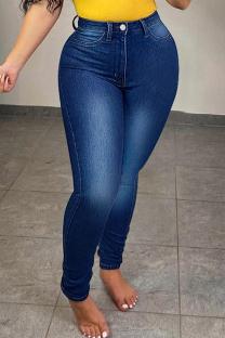 Dark Blue Fashion Casual Solid Basic High Waist Regular Denim Jeans